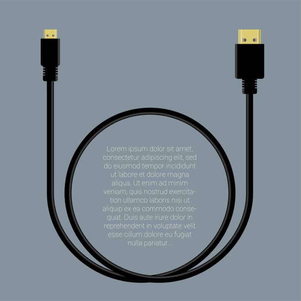 Hdmi data cable template vector art illustration