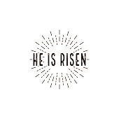 He is risen. celebration day. Happy Easter day vector isolated illustration