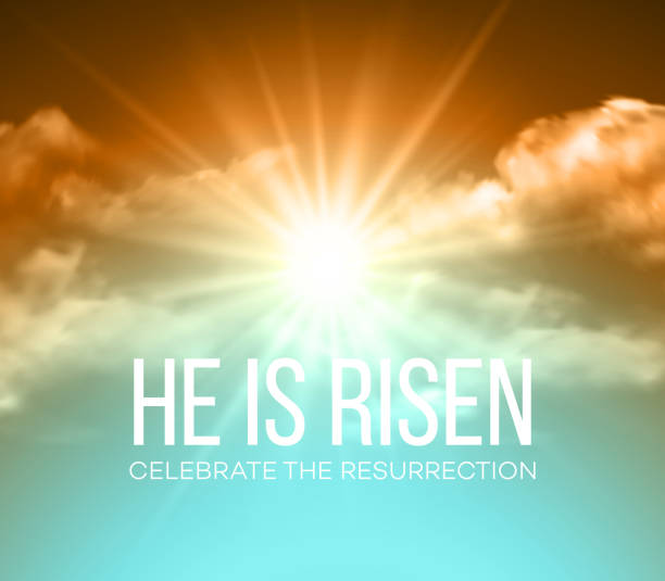 he is risen. easter background. vector illustration - 宗教 幅插畫檔、美工圖案、卡通及圖標