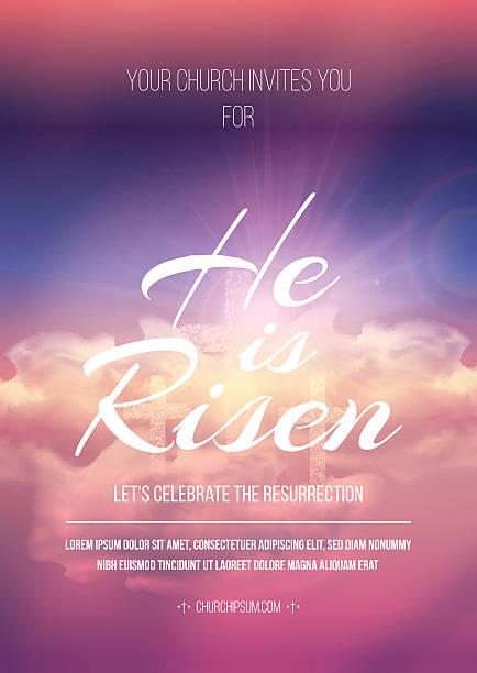 bildbanksillustrationer, clip art samt tecknat material och ikoner med he is risen, vector easter religious poster template. - pink sunrise