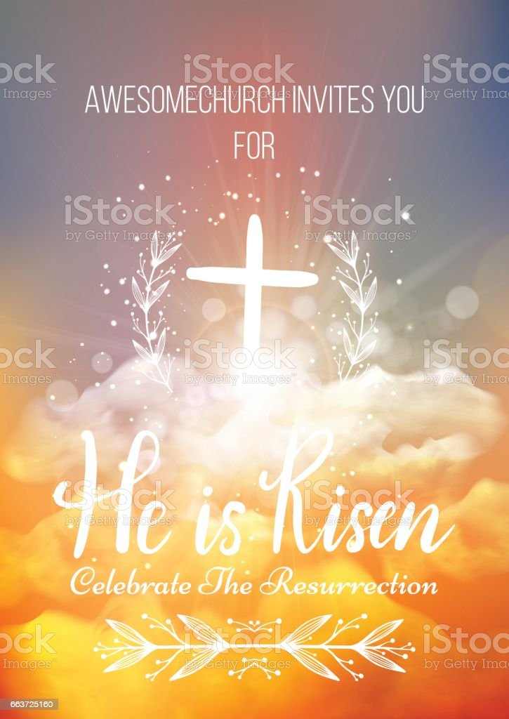 he is risen vector easter religious poster template stock vector art