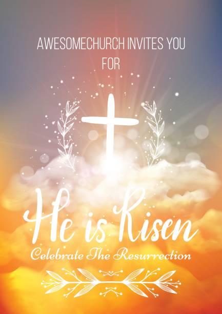 他復活了,向量復活節宗教海報範本 - 宗教 幅插畫檔、美工圖案、卡通及圖標