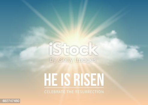 Christian religious design for Easter celebration, text He is risen, shining Cross and heaven with white clouds. Vector illustration.