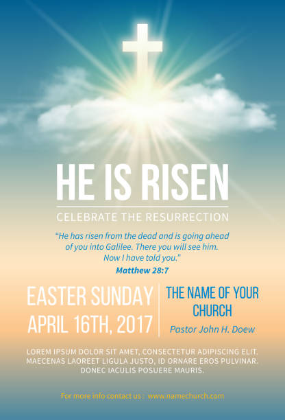 He is risen Christian religious design for Easter celebration. Church poster, flyer and other. Text He is risen, shining Cross and heaven with white clouds. Vector illustration. church stock illustrations