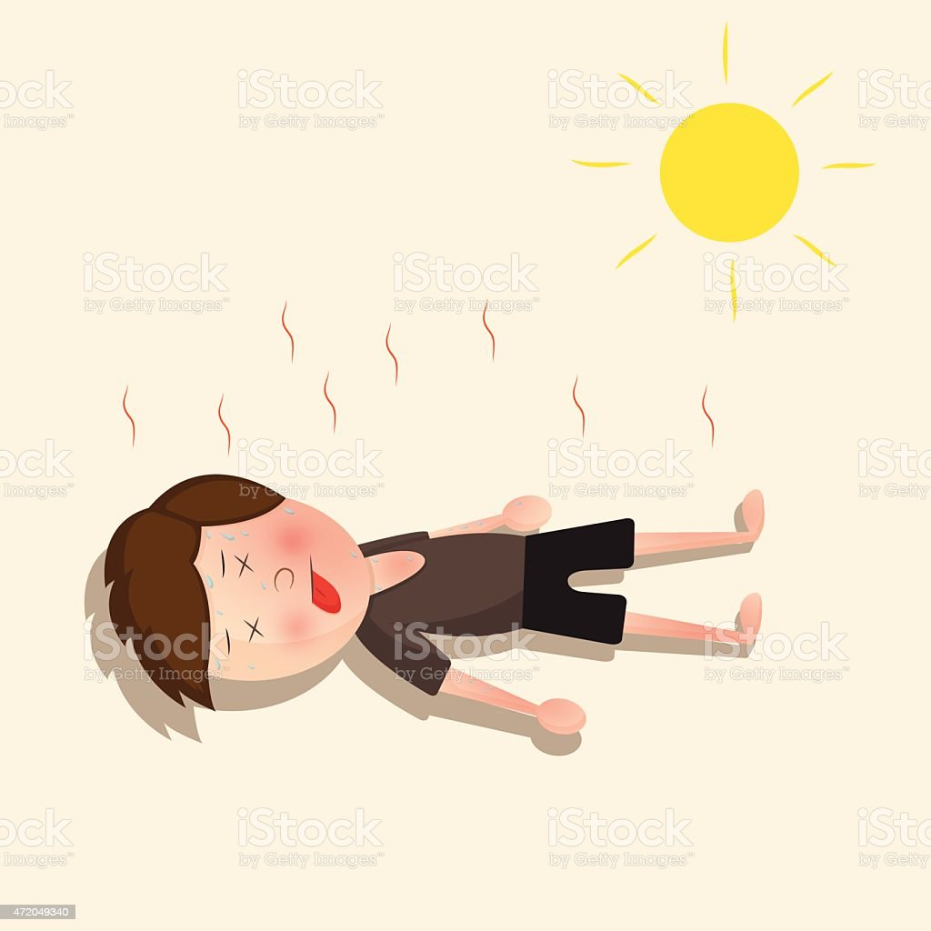 He lost consciousness because of the hot sun vector art illustration