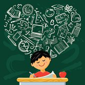 A cute boy sits at his desk with school symbols forming a heart on the chalkboard. Layered File.