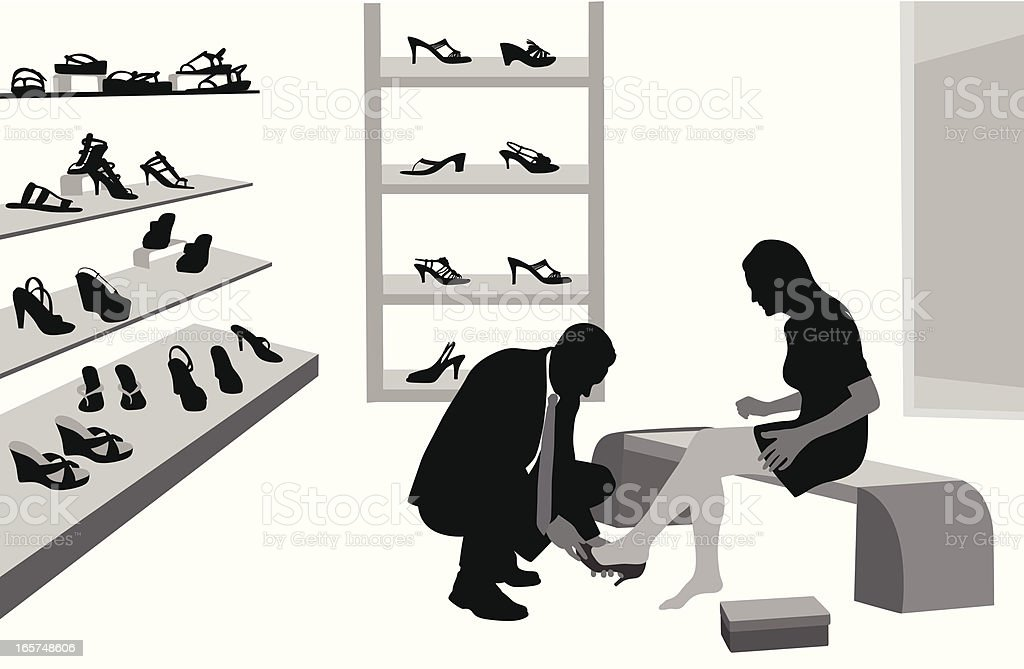 He Sells Shoes Vector Silhouette royalty-free stock vector art