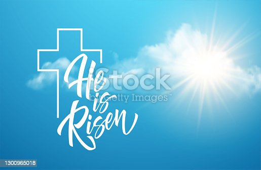 istock He was resurrected lettering against a background of clouds and sun. Background for congratulations on the Resurrection of Christ. Vector illustration 1300965018