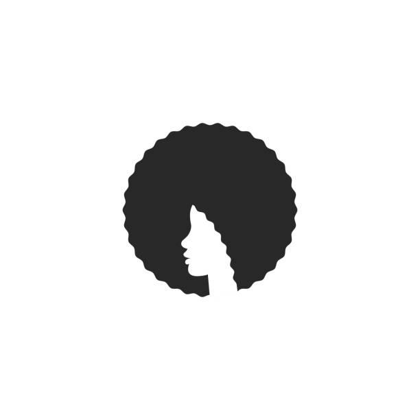 머리 아프리카 계 미국인 소녀 와 아프로 로고 헤어 스타일, 뷰티 살롱 이나 미용사에 대 한 우아한 엠블럼 - 아프로 머리 stock illustrations
