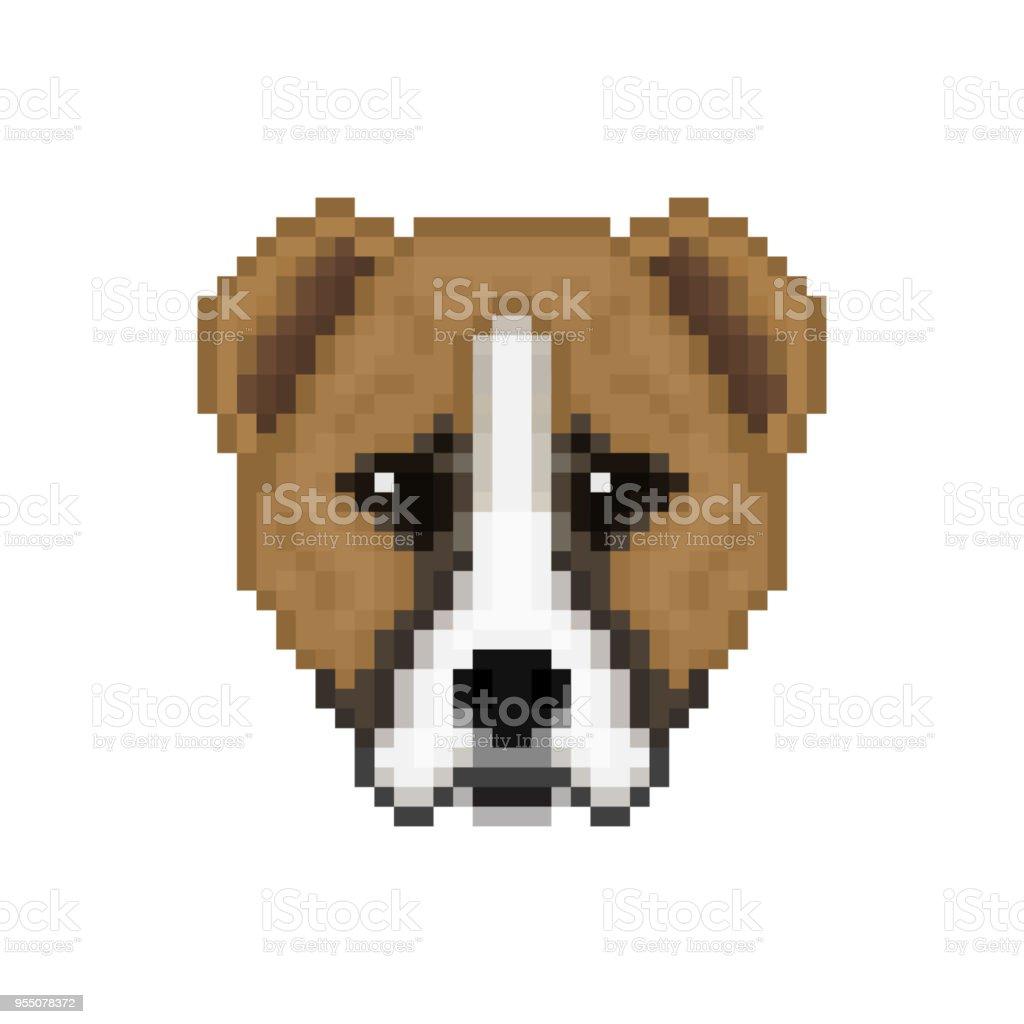 Head Alabai Dog In Pixel Art Style Vector Illustration Stock