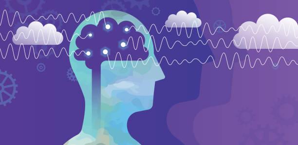 illustrazioni stock, clip art, cartoni animati e icone di tendenza di head and alpha brain waves concept - elettrodo