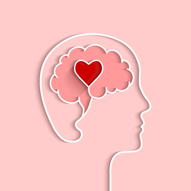 Head and brain outline with heart concept Head and brain outline with heart concept. Vector illustration in flat design with shadow on light pink background. mental health stock illustrations
