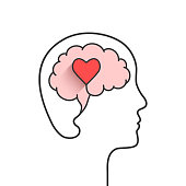 Head and brain silhouette with heart shape
