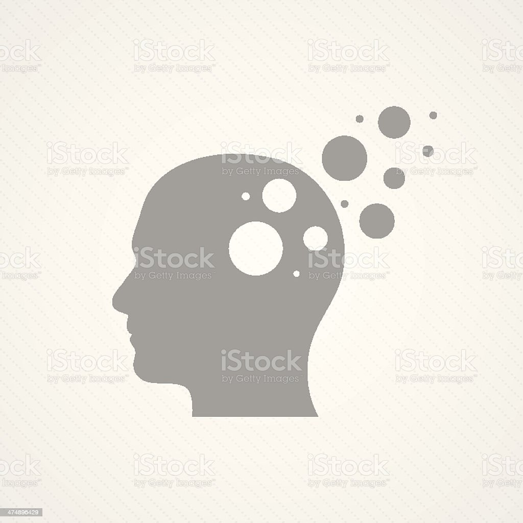 Head and circles vector art illustration