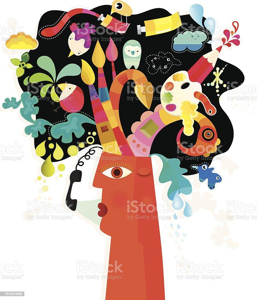 Head and Creativity royalty-free stock vector art