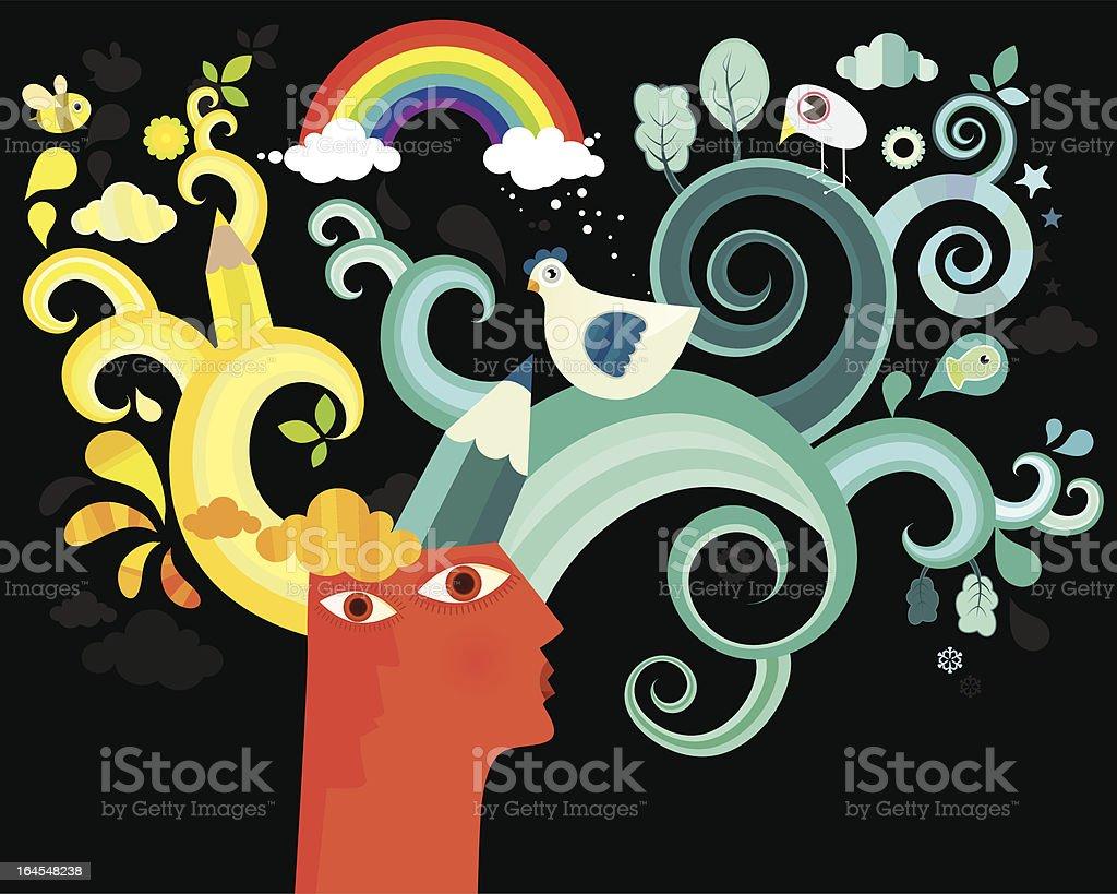 Head and Imagination royalty-free stock vector art