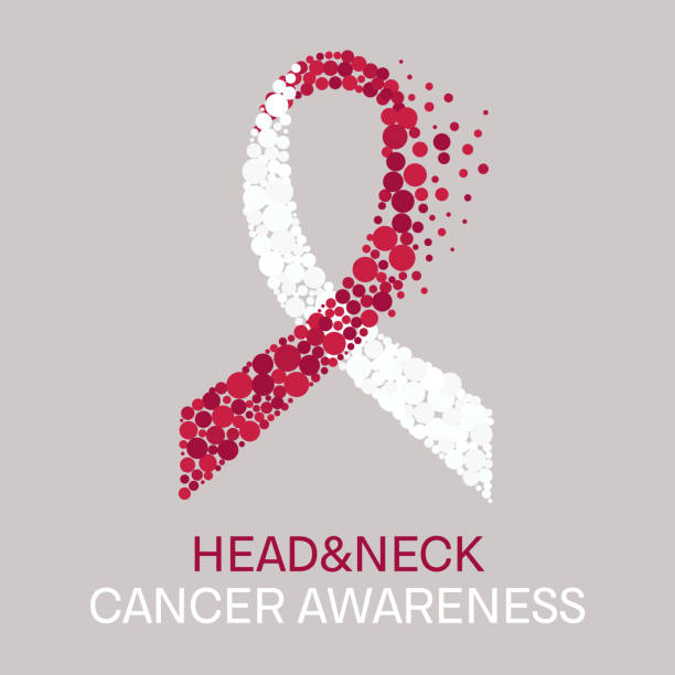 Head and neck cancer poster Head and neck cancer awareness poster with white and burgundy ribbon made of dots on light background. Medical concept. Vector illustration. neck stock illustrations