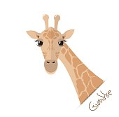 Head and neck of a giraffe in a flat style