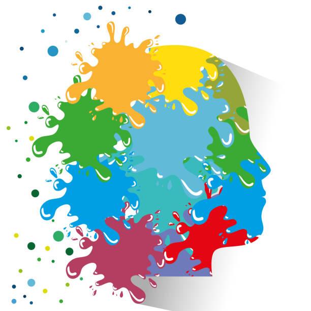 kopf und farbe splatter-symbol - kindergesichtsfarben stock-grafiken, -clipart, -cartoons und -symbole