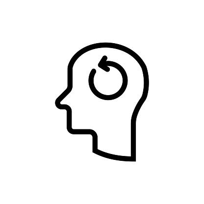 Head and refresh icon stock illustration