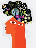 An Illustration of a Head and Creative thinking - thoughts.