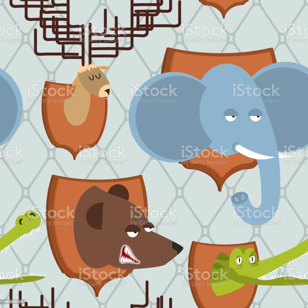 Tête animale Hunter trophée transparente motif. éléphant et ours. orignal et crocodile sur le bouclier. Bête sauvage épouvantail. Fond de chasse tête animale hunter trophée transparente motif éléphant et ours orignal et crocodile sur le bouclier bête sauvage épouvantail fond de chasse – cliparts vectoriels et plus d'images de agression libre de droits