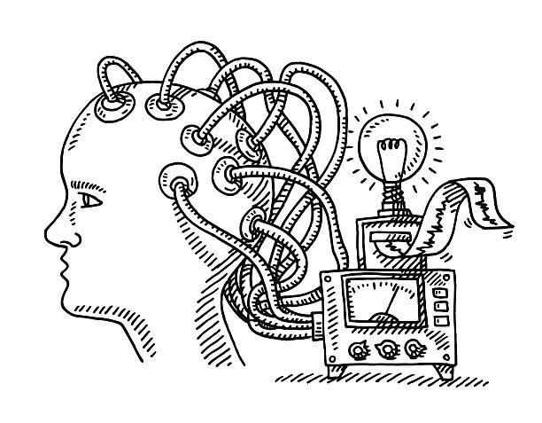 illustrazioni stock, clip art, cartoni animati e icone di tendenza di esame di testa cervello attrezzature disegno - elettrodo