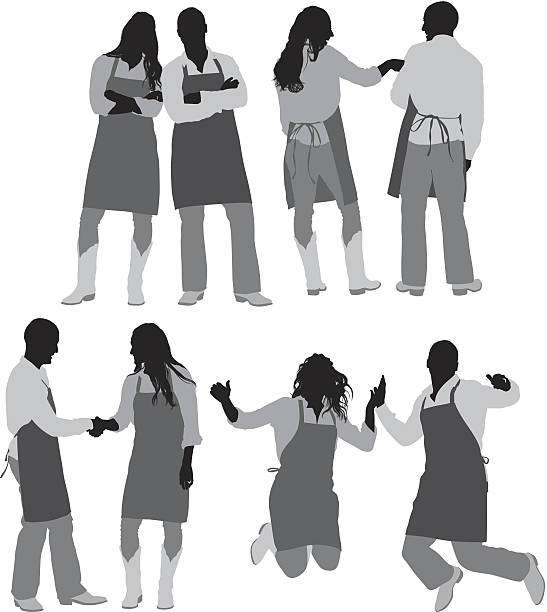 Head couple Chef couplehttp://www.twodozendesign.info/i/1.png cooking silhouettes stock illustrations