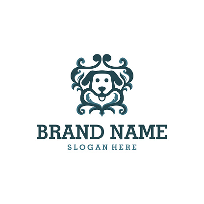 Head Dog Ornament Logo Design