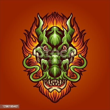 istock Head Dragon Hair Fire illustrations for your work Logo, mascot merchandise t-shirt, stickers and Label designs, poster, greeting cards advertising business company or brands. 1296195401
