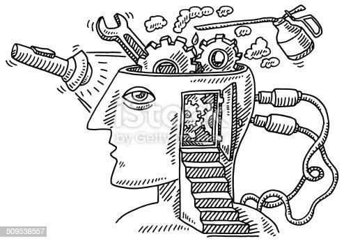 istock Head Examination Gears Steps Drawing 509536557