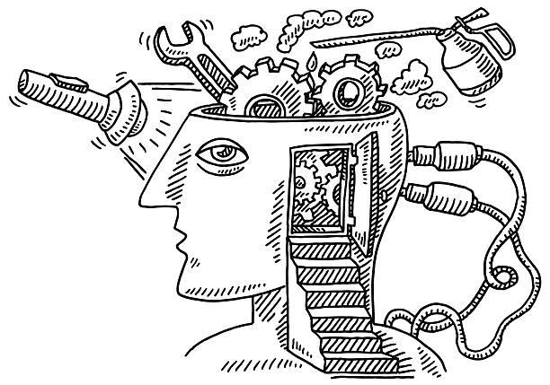 Exame possui degraus de desenho de cabeça - ilustração de arte em vetor