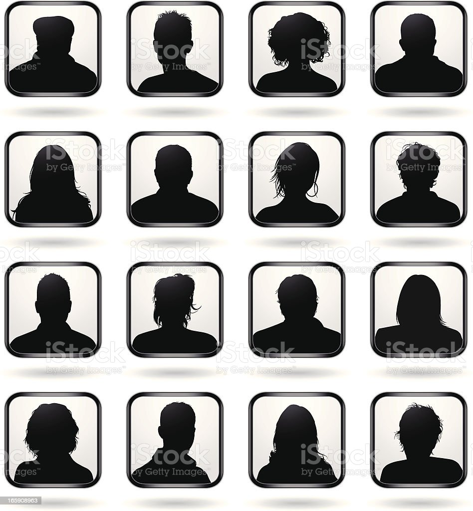 Head Front Silhouette vector art illustration