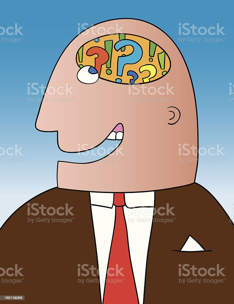 Head Full of Questions royalty-free stock vector art