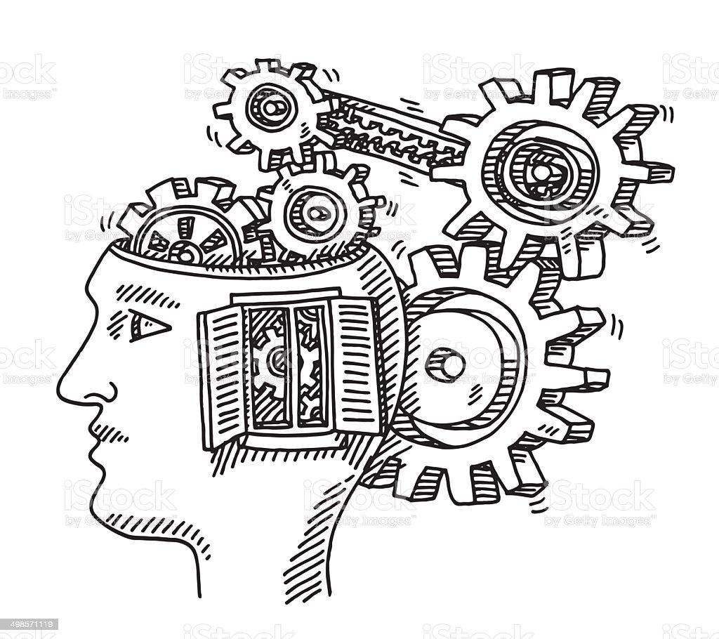 Head Gears Window Drawing vector art illustration