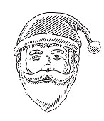 Head Happy Santa Claus Drawing