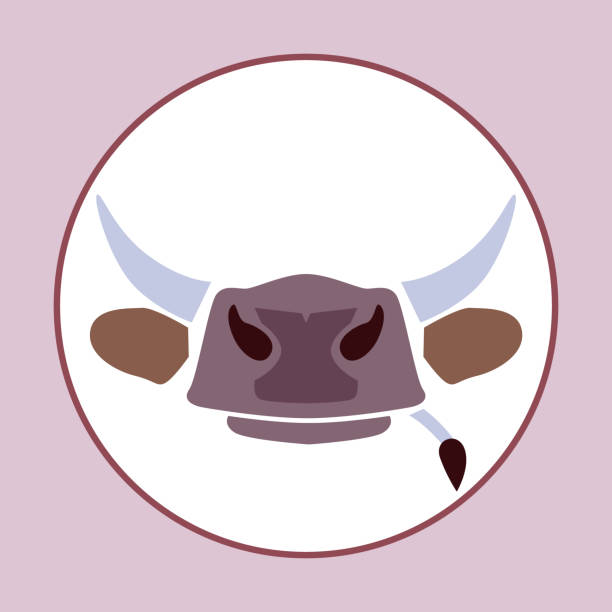 head, horns and tail of cow logo design. Butcher store, beef. Simle symbol vector vector art illustration