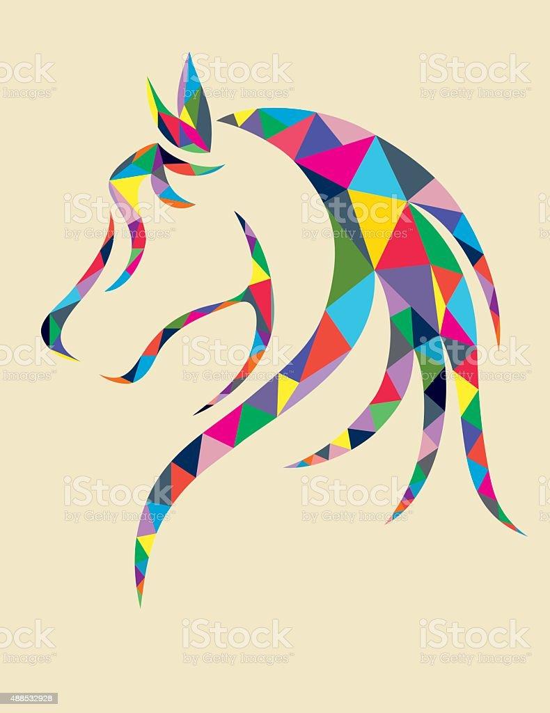 Head Horse geometric vector art illustration