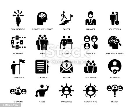 Head Hunting and Recruiting Icon Set