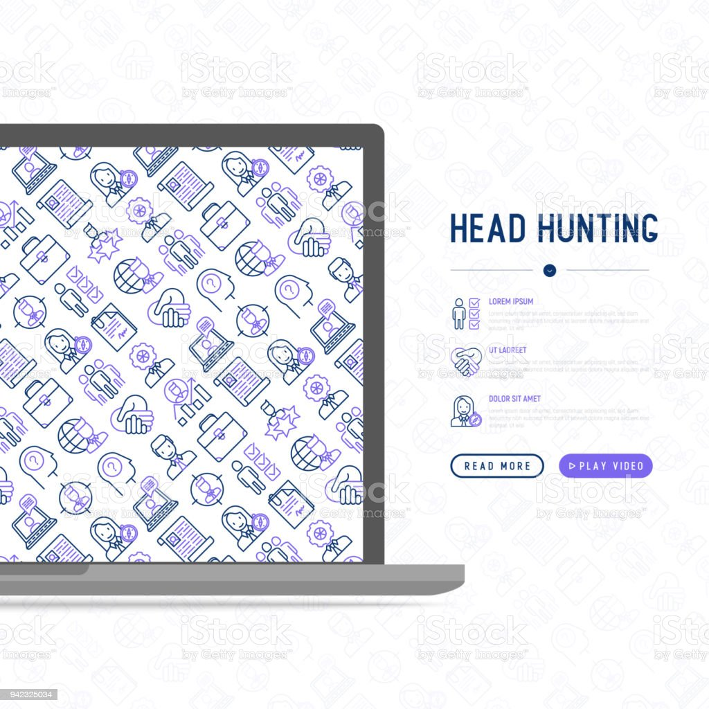 head hunting concept with thin line icons employee hr manager focus resume
