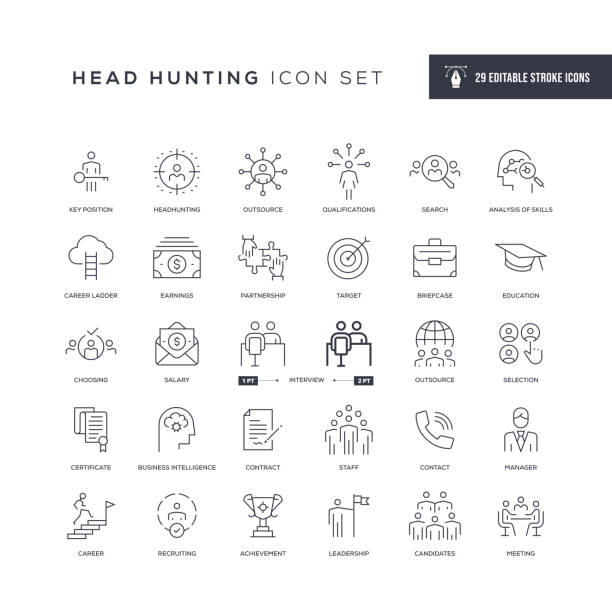 stockillustraties, clipart, cartoons en iconen met head hunting bewerkbare stroke line icons - vaardigheid