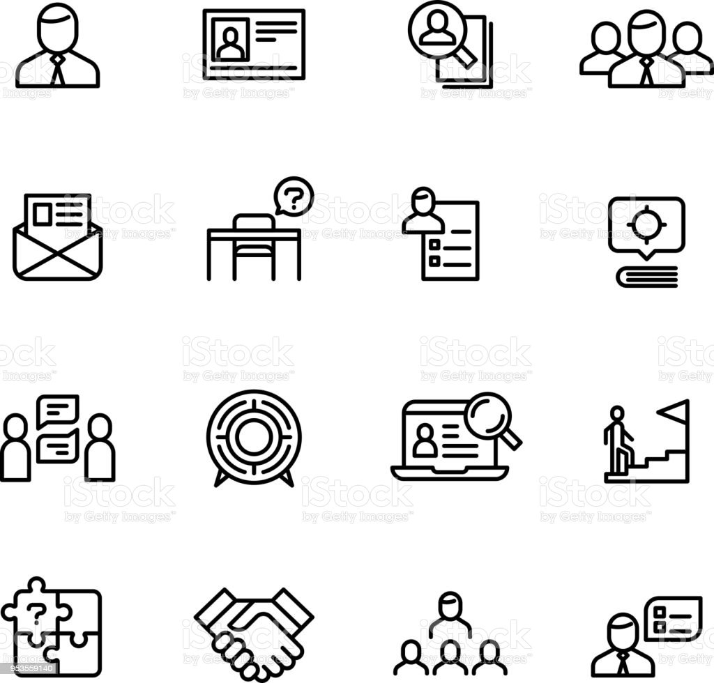 Head Hunting Professional People Management Line Icons Search For