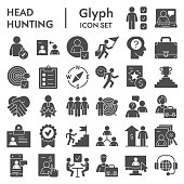 Head hunting solid icon set. Job and office collection or sketches, symbols. Corporate business signs for web, glyph style pictogram package isolated on white background. Vector graphic