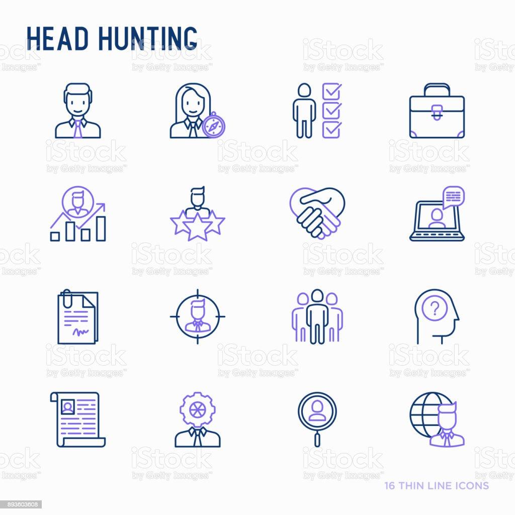 頭のアイコンを設定する細い線をハンティング: 従業員、人事マネージャー、フォーカス、再開。ブリーフケース。実績キャリアの成長、インタビュー。バナー、web ページ、印刷メディアのベクトル図です。 ベクターアートイラスト