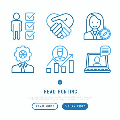 머리 사냥 선 아이콘 세트 직원 Hr 관리자 초점 이력서 서류 가방 성과 경력 성장 인터뷰입니다 벡터 일러스트입니다 Employee에 대한 스톡 벡터 아트 및 기타 이미지