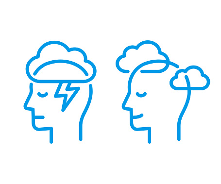 Head profile with storm cloud and clear sky. Mindfulness and stress management in psychology, vector illustration. Simple and modern line icon.
