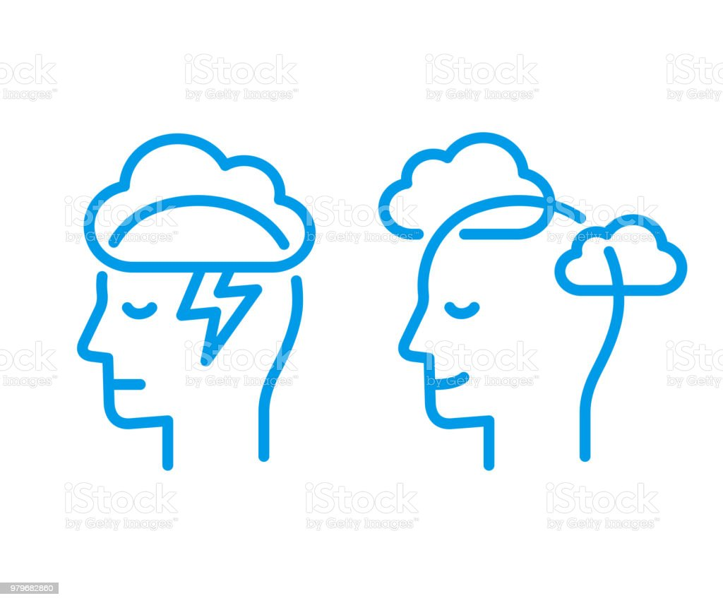 Head icon with cloud vector art illustration