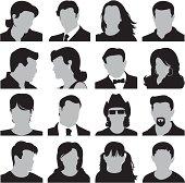 Set of men, women and children head icons