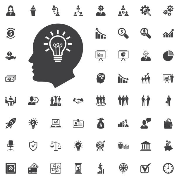 kopf idee symbol vektor. birne-konzept - kopfleuchten stock-grafiken, -clipart, -cartoons und -symbole