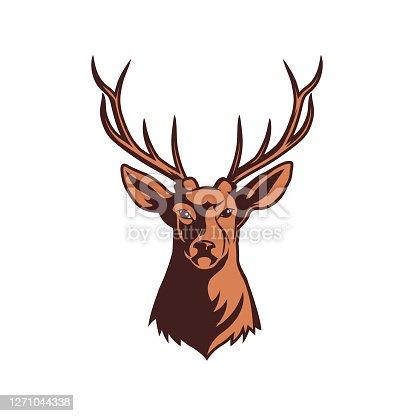 istock head illustration of deer with big horn 1271044338